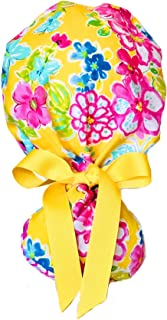 Yellow and Pink Floral Ponytail Scrub Cap for Women with Yellow Ribbon