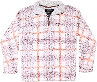 True Grit Frosty Tipped Taos Pile 1/4 Zip Pullover in Red Final Sale