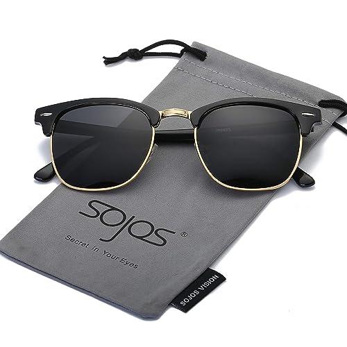 f585f1fefa4a SOJOS Semi Rimless Polarized Sunglasses for Men and Women Half Horn Rimmed  Glasses SJ5018 SJ1071