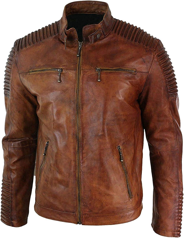 Men Biker's Quilted Brown Leather Cafe Racer Jacket