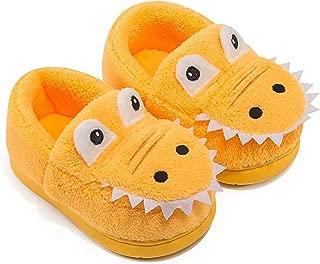 ZaYang Boys Girls Cartoon Dinosaur House Slippers Toddler Kids Fuzzy Warm Winter Indoor Bedroom Shoes