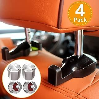 SAMIKIVA 4-Pack Car Back Seat Headrest Hanger, Universal Automotive Vehicle Organizer Holder Hook Accessory for Bag Purse Cloth Grocery (Black), Brass Tire Caps Combo Set