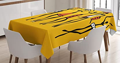 Ambesonne Africa Tablecloth, Dancing Figures Sketchy Characters Modern Style Graphic Print in Earth Tones, Rectangular Table Cover for Dining Room Kitchen Decor, 60