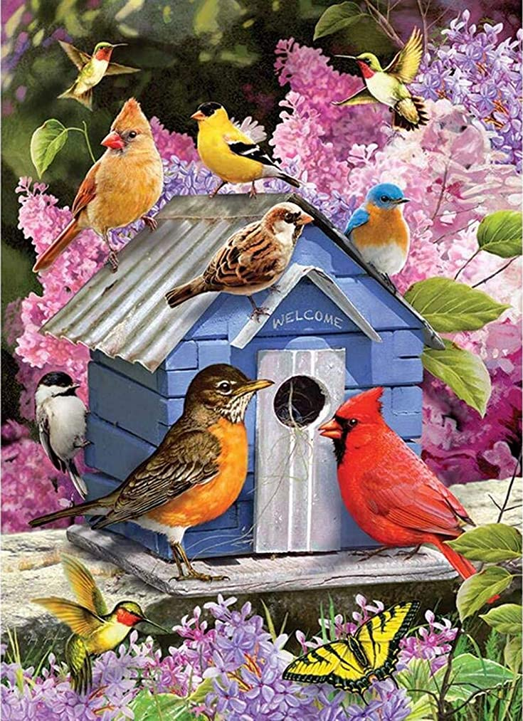 DIY Handwork Store 5D DIY Crystal Diamond Painting Kits by Numbers Full Square Drill Animals Spring Birdhouse Flower Cross Stitch Arts Craft Gifts Mosaic Embroidery Home Wall Sticker(15.7