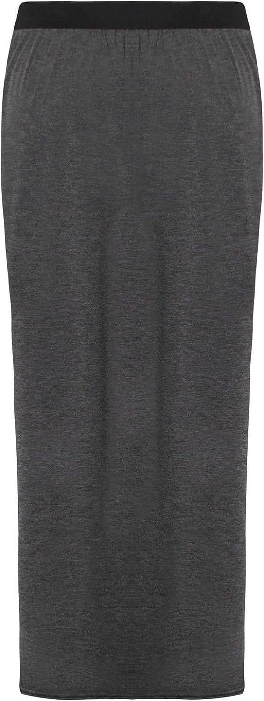 Outofgas Womens Plus Size Long Plain Stretch Bodycon Gypsy Jersey Maxi Dress Ladies Skirt