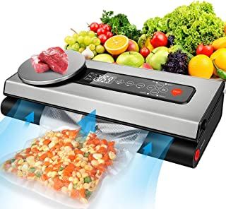 Food Vacuum Sealer Machine, 80Kpa Automatic Food Sealer for Food Savers with Kitchen Food Scale & LCD Display, Dry & Moist Food Modes, Food Vacuum Sealer with Starter Kit