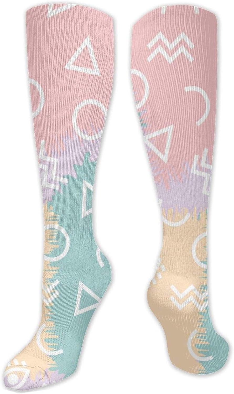 Colored Geometric Knee High Socks Leg Warmer Dresses Long Boot Stockings For Womens Cosplay Daily Wear