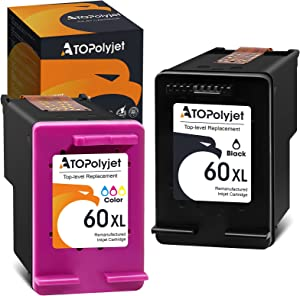 ATOPolyjet Remanufactured Ink Cartridge Replacement for HP 60 XL 60XL Black Color Fit for PhotoSmart C4680 C4780 C4795 D110a DeskJet F4480 D2530 F4280 F4580 F2430 D2660 Envy 120 100 110 114 Printer