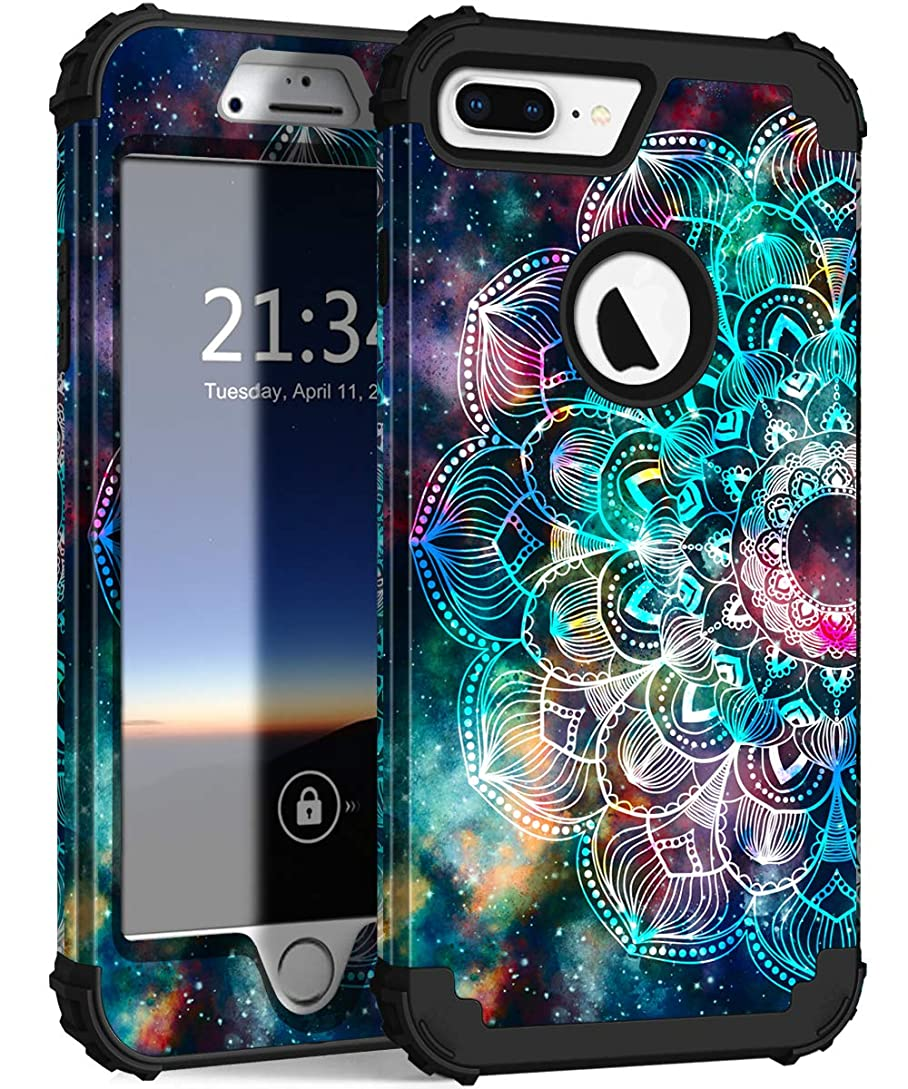 Hocase iPhone 8 Plus Case, iPhone 7 Plus Case, Heavy Duty Shockproof Protection Hard Plastic+Silicone Rubber Hybrid Protective Case for iPhone 7 Plus/iPhone 8 Plus - Mandala in Galaxy pj6467933