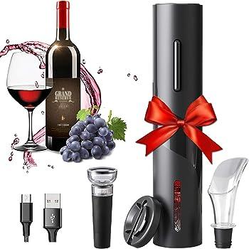 Amdo HSTD Cavatappi Senza Filo, Apribottiglie Vino Elettrico Set Micro USB, Taglia Foglio, Tappi per Vino, Anello per Vino Invertito, Ristorante, Festa, Ottimo Regalo Gift for Family
