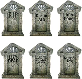 VictoryStore Yard Sign Outdoor Lawn Decorations - Fake Tombstones - Halloween Yard Decoration - Set of 6, 21.3