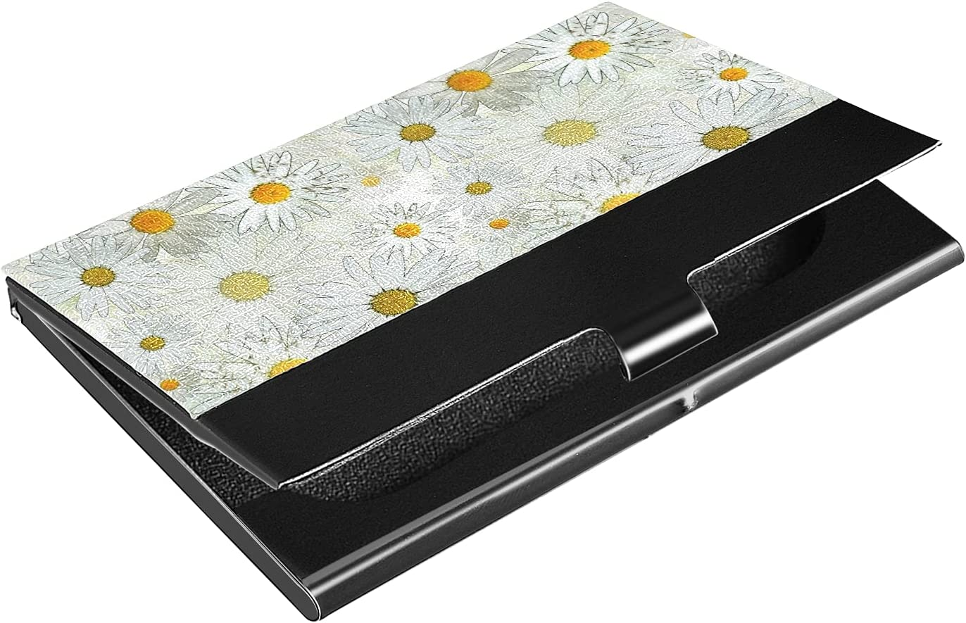 Manufacturer direct delivery OTVEE White Daisy Flowers Business Wallet It is very popular Card Holder Stainless