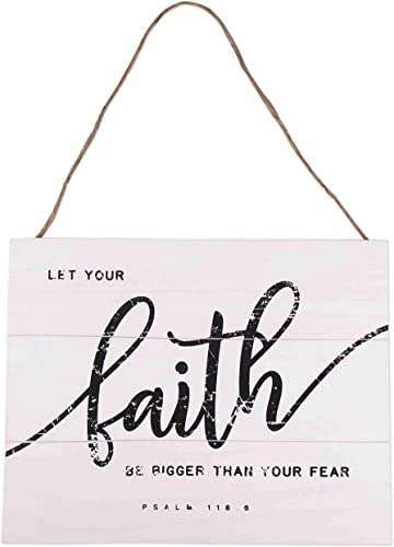lowest GSM Brands 2021 Faith Bigger Than Fear Wood Plank Hanging Sign 2021 15.75x13 outlet sale