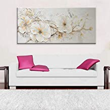 Handgeschilderd Olieverfschilderij - Abstract Modern Wit Pruimenbloesem Paletmes Textuur Handgeschilderd Olieverfschilderi...