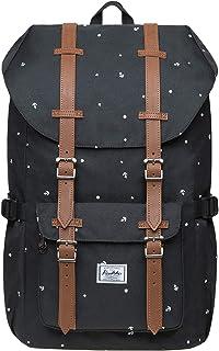 KAUKKO Rucksack Damen Herren Studenten 17 Zoll Backpack für 15 Notebook Lässiger Daypacks Polyester-SchwarzEP5-13