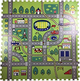 Road Rally Play Foam Floor Tiles For Kids - Jumbo Interlocking Foam Mats - Soft Alternative To Race Track Rug - Set of 4 Large 24 x 24 Inch Pieces - Perfect Hot Wheels Mat Or Other Toy Cars