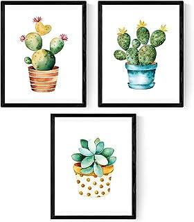 Nacnic Pack de 3 láminas para enmarcar Cactus. Estilo Acuarela. Tamaño A3. con Marco