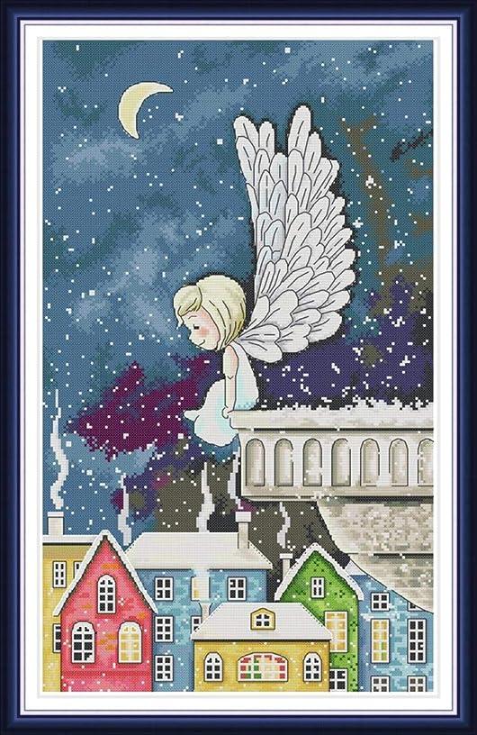 Joy Sunday Cross Stitch Kit 14CT Stamped Embroidery Kits Precise Printed Needlework - Night Snow Angel 35×54CM