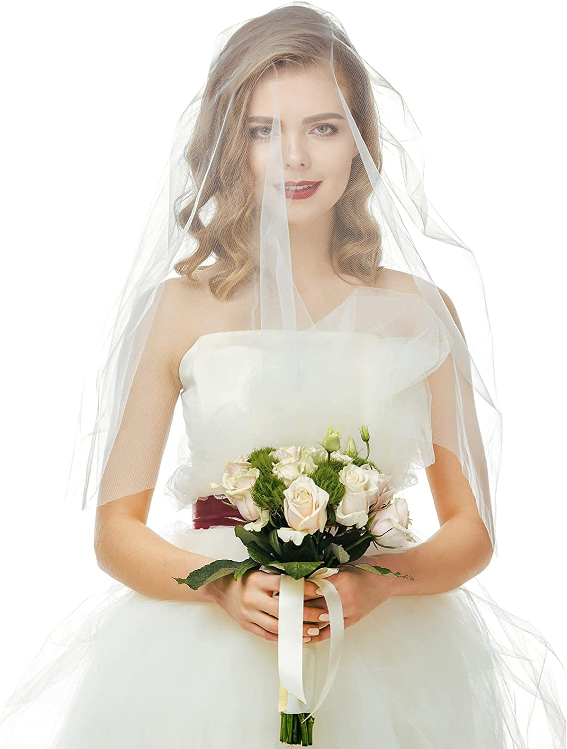 Wedding Veil 118 Inch Long Cathedral Bridal Tulle 1-Layer Bridal Veil with Comb