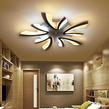 9W LED Modern Deckenleuchte Elegante Wohnzimmer Schlafzimmer Deckenlampe  Romantische Warm 9-Flammig Deckenbeleuchtung Schwarz Acryl Lampenschirm