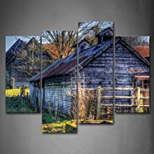 Firstwallart Wooden Cabins Tree Lawn Wall Art Painting Pictures Print On Canvas The Picture for Home Modern Decoration