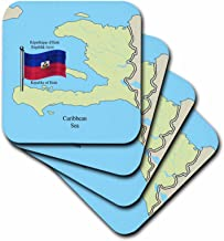 3dRose CST_63254_2 The Flag and Map of Haiti with The Republic of Haiti Printed in English, French and Haitian Creole Soft Coasters, Set of 8