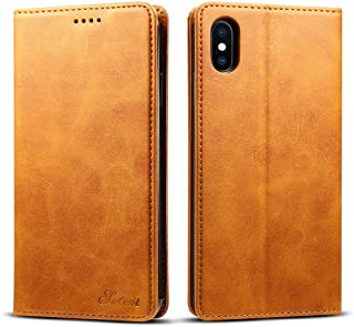 SHUANGRUIYUAN with Holder & Card Slots & Wallet, Calf Texture Horizontal Thumb Leather Case for iPhone Xs Max (Color : Brown)