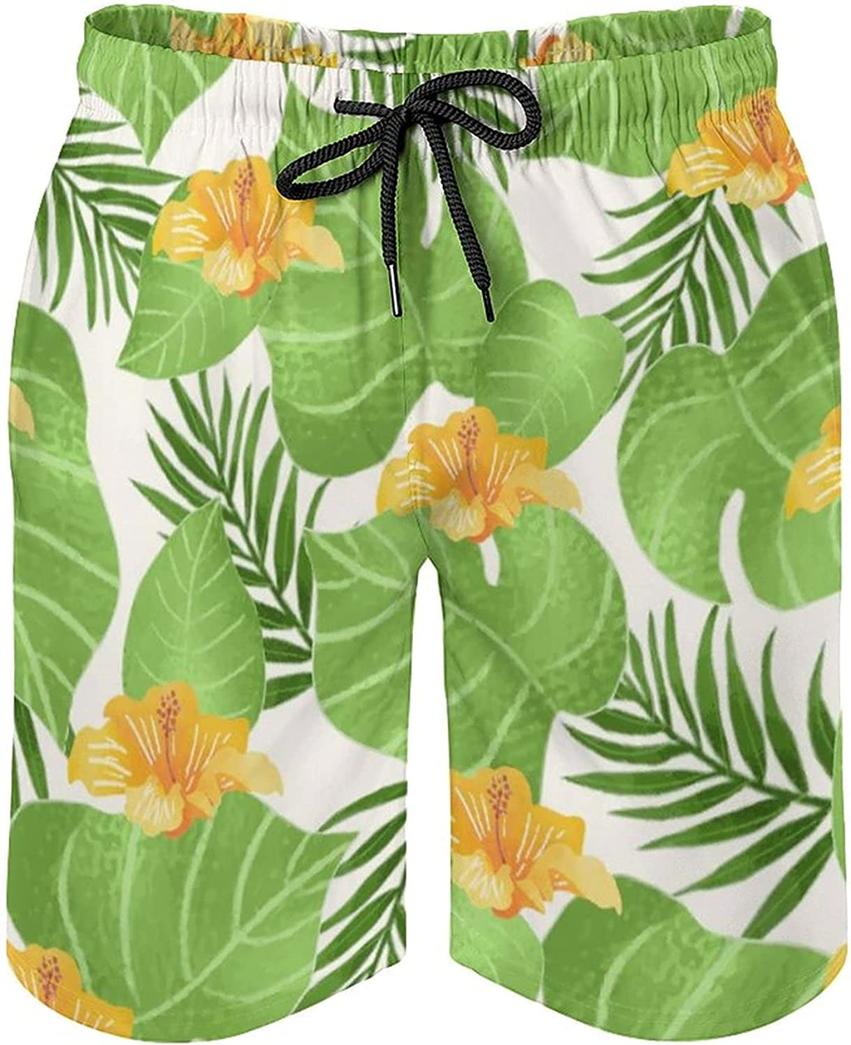 by Unbranded Men's Quick Dry Soft Relaxed Fit Drawsting Board Shorts Tropical Pattern