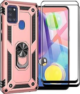 XIFAN Funda para Samsung Galaxy A21s + [2 Pack] Vidrio Templado, [Funciona con El Montaje De Coche Magnético] Defensa Mili...