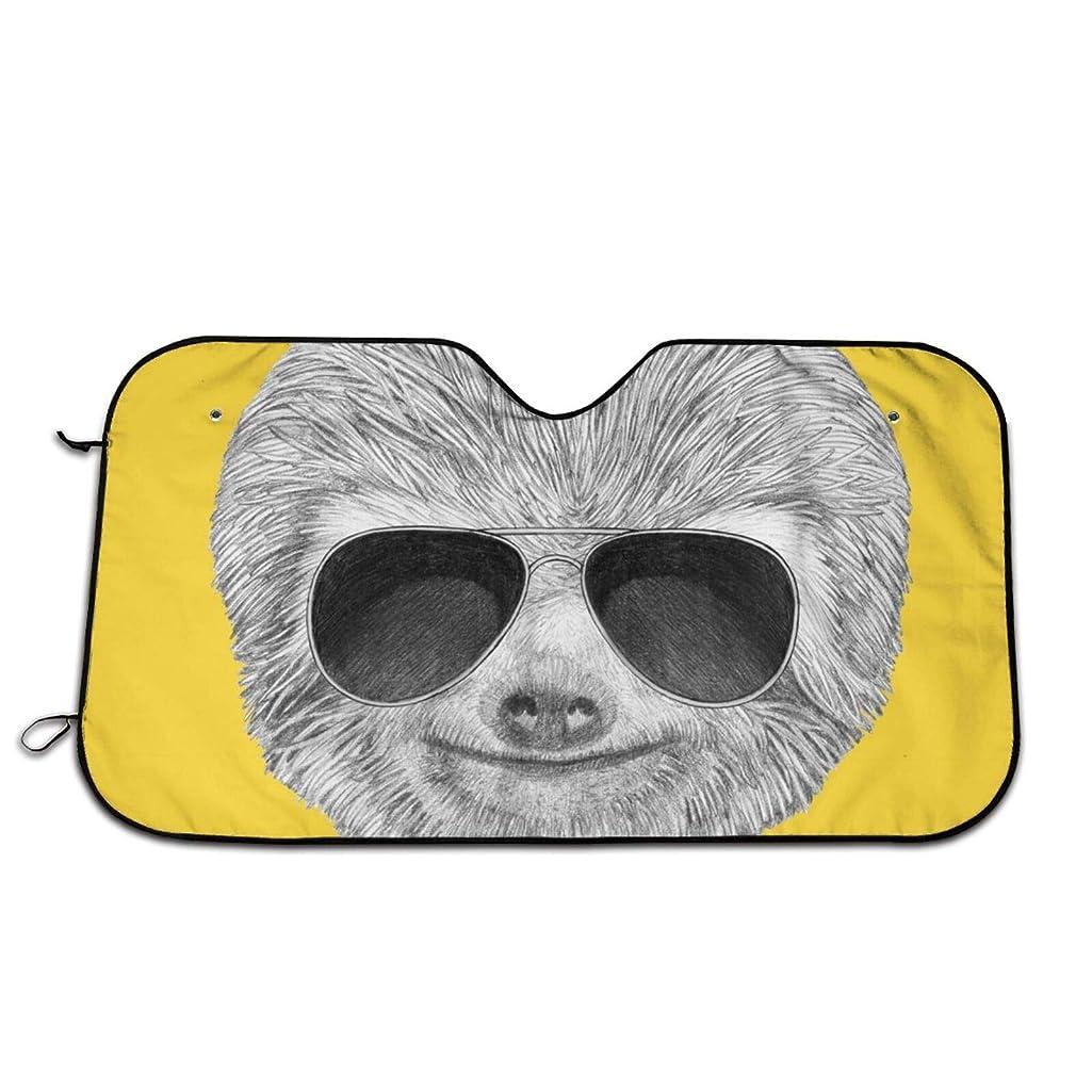 足保証する刺激する車用サンシェード Portrait of Sloth フロントガラス 日よけ- 紫外線を遮断するサンバイザープロテクター、サンシェードはあなたの車を涼しく保ちます、ミラー?ポケット?フィットセダンとハッチバック(147*118cm)