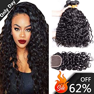 ALIMICE HAIR Water Wave 3 bundles with closure Brazilian 100% Human hair Weave bundles with 4x4 Closure Remy Hair extensions Can be dyed (12 14 16+10)