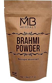 MB Herbals Pure Brahmi Powder 100g | 3.5 oz | 100% Pure Bacopa monnieri Powder | Promotes Hair Growth | Memory | Alertness | Focus | Rejuvenative Herb