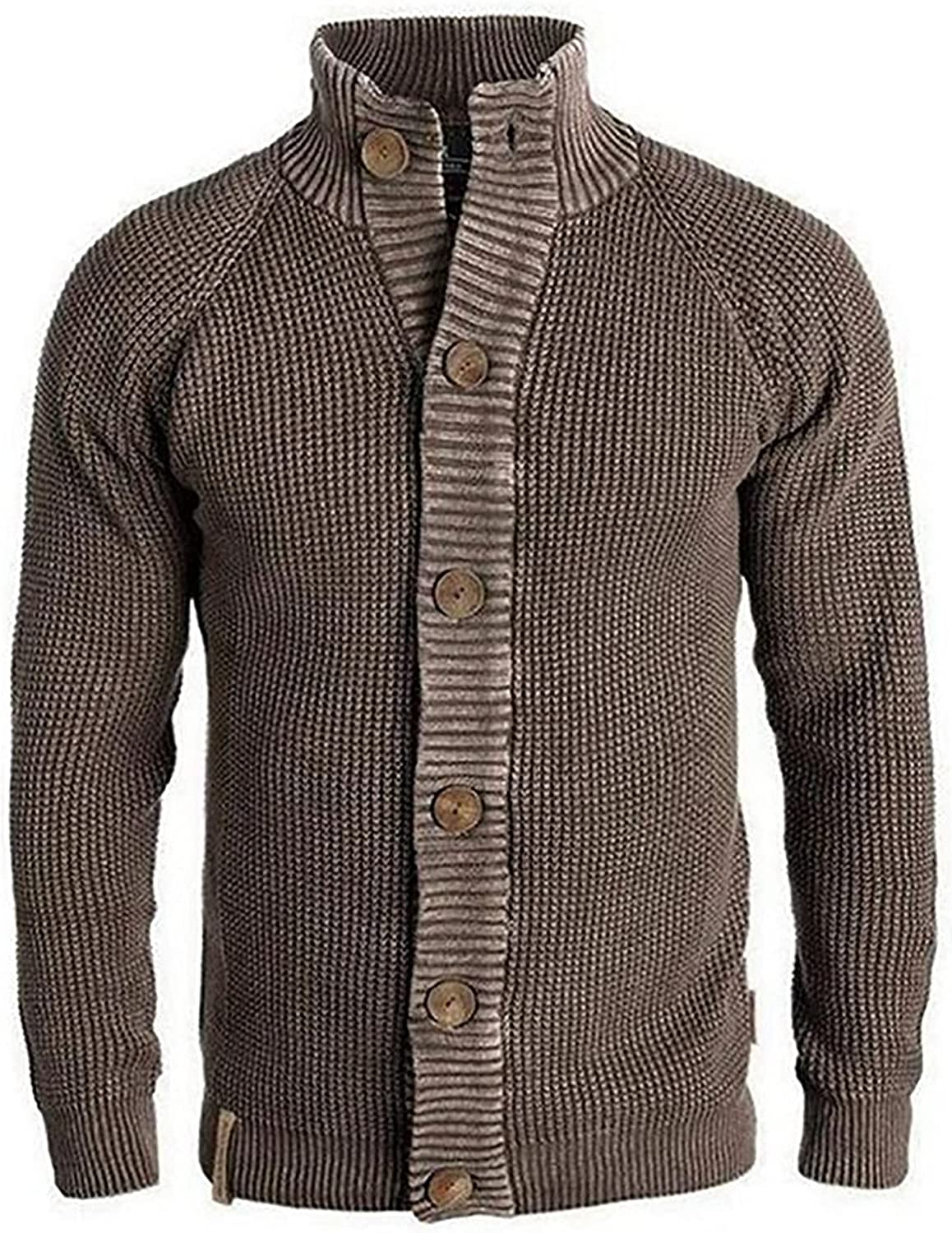 Men's Turtleneck Sweater Retro Long Sleeve Cable Knited Thermal Cardigan Coat Jacket, Must-Have for Mature Men