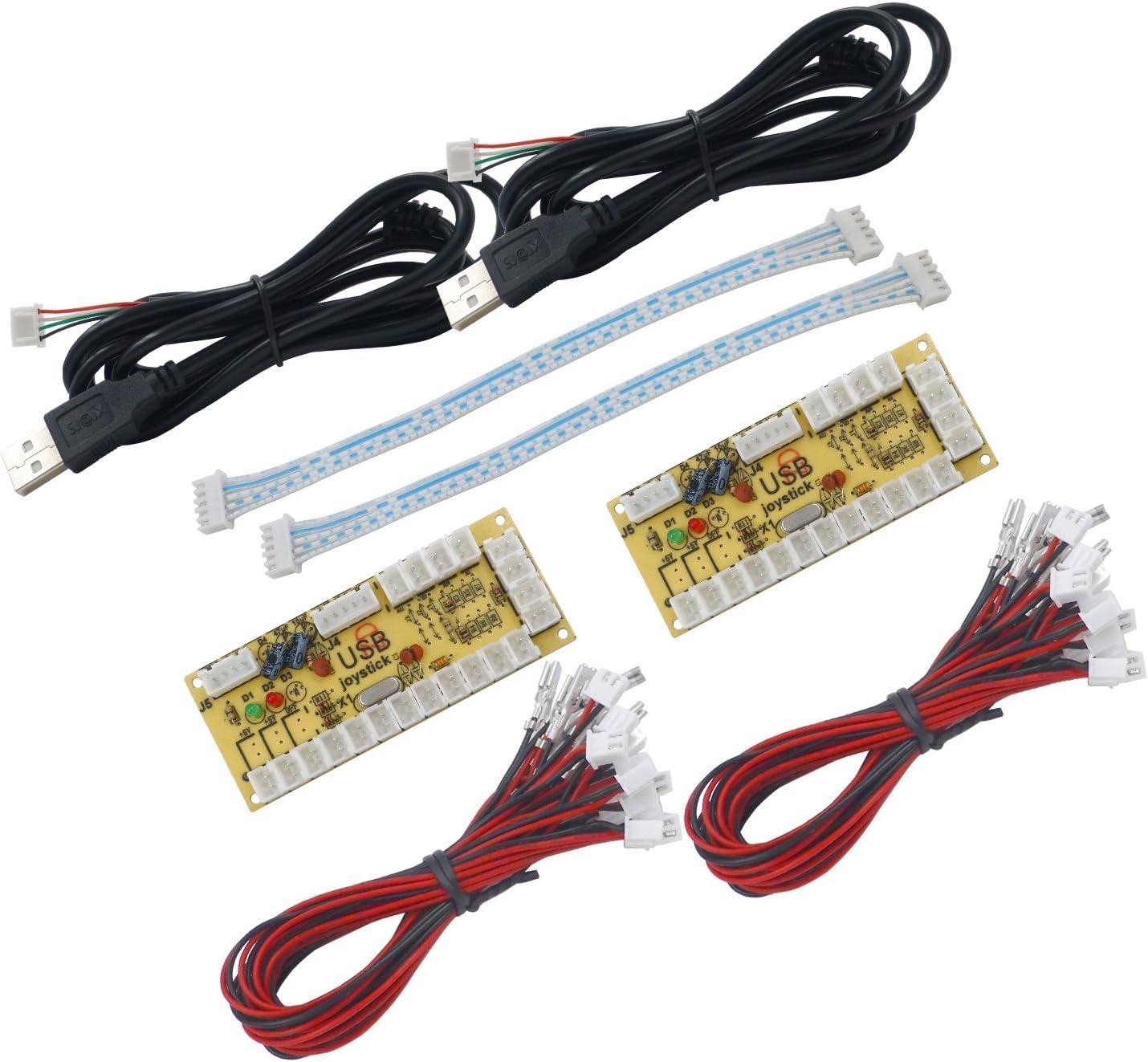 SJ@JX Arcade Game Controller USB Encoder Zero Delay 2 Player to Joystick Button for PC MAME RaspberryPi Retro: Computers & Accessories