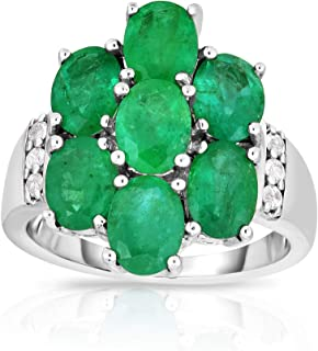 Femme Luxe Flora Natural Zambian Emerald Statement Ring for Women, 925 Sterling Silver, Hypoallergenic, Gift Ready Jewelry