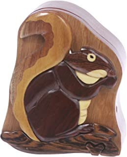 Handmade Wooden Intarsia TRICK SECRET Squirrel Puzzle Box