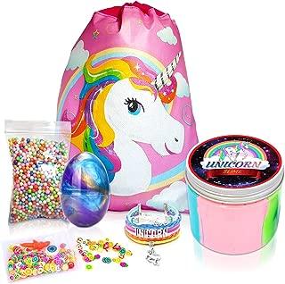 Unicorn Gifts - Premium 10oz Unicorn Slime + 6 Bonus Extras - Galaxy Egg, Eyes&Nose, Foam Balls, Fruit Slices, Unicorn Bracelet and Gift Bag Unicorn Gifts for Girls Unicorn Party Supplies Unicorn Toys