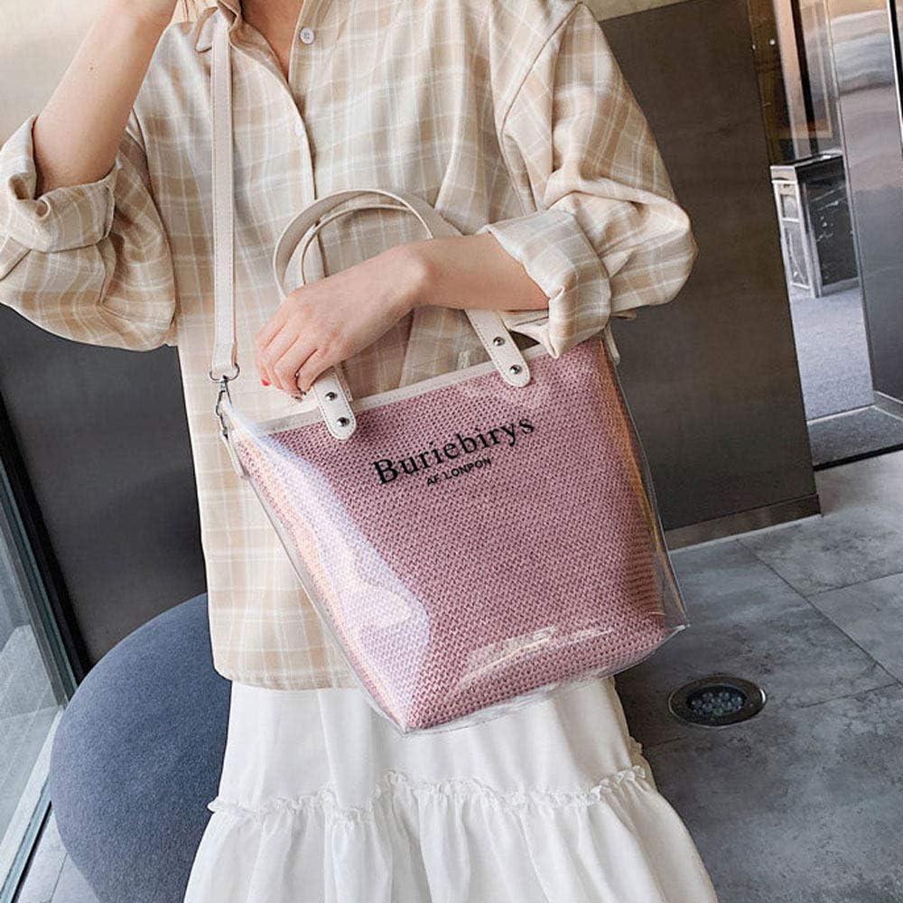 Grtodnz Femmes Sac de Plage PVC Paille Sac à bandoulière Transparent Sac à bandoulière Sac d'été,Yellow Pink