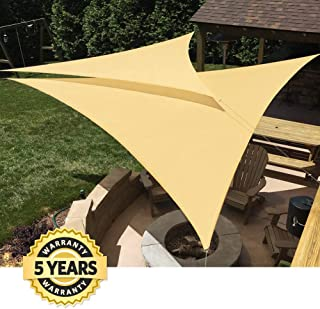Quictent 185G HDPE Triangle Large Sun Shade Sail Canopy 98% UV Block Top Outdoor Cover Patio Garden Sand (20 x 20 x 20 ft, Sand)