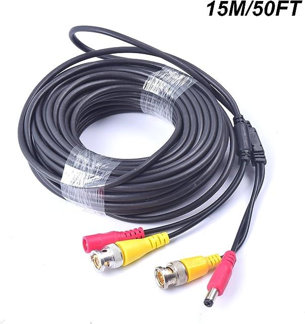 Cocar 50FT 15M All-in-One BNC Vídeo Extensión Cable con Conector CC Alimentación para Cámaras de Seguridad Inicio de Vigilancia CCTV Circuito Cerrado de TV del Sistema
