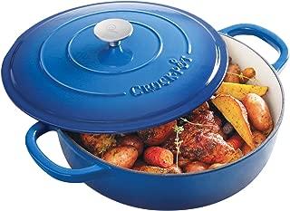 Crock Pot Artisan 5 Quart Round Enameled Cast Iron Braiser Pan with Lid, Sapphire Blue