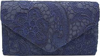 PB-SOAR Elegant Damentasche Clutch Abendtasche Brauttasche Umhängetasche Handtasche mit Spitze, 8 Farben auswählbar (Dunke...