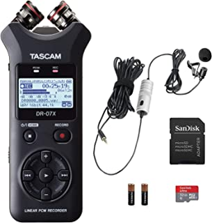 Tascam DR-07X Digital Recorder Bundle with Movo Lavalier Microphone and 32GB Micro SD Memory Card