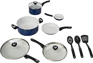 Farberware Ceramic Dishwasher Safe Nonstick Cookware Pots and Pans Set, 12 Piece, Blue
