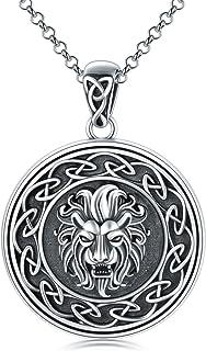 Lion Pendant Necklace Amulet Pendant Necklace Sterling Head Pendant Jewelry for Women Men
