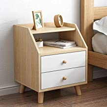 Bedroom Bedside Table Storage Cabinet Double Drawers Cabinet for Storage Furniture Night Stand Table for Living Room Sofa