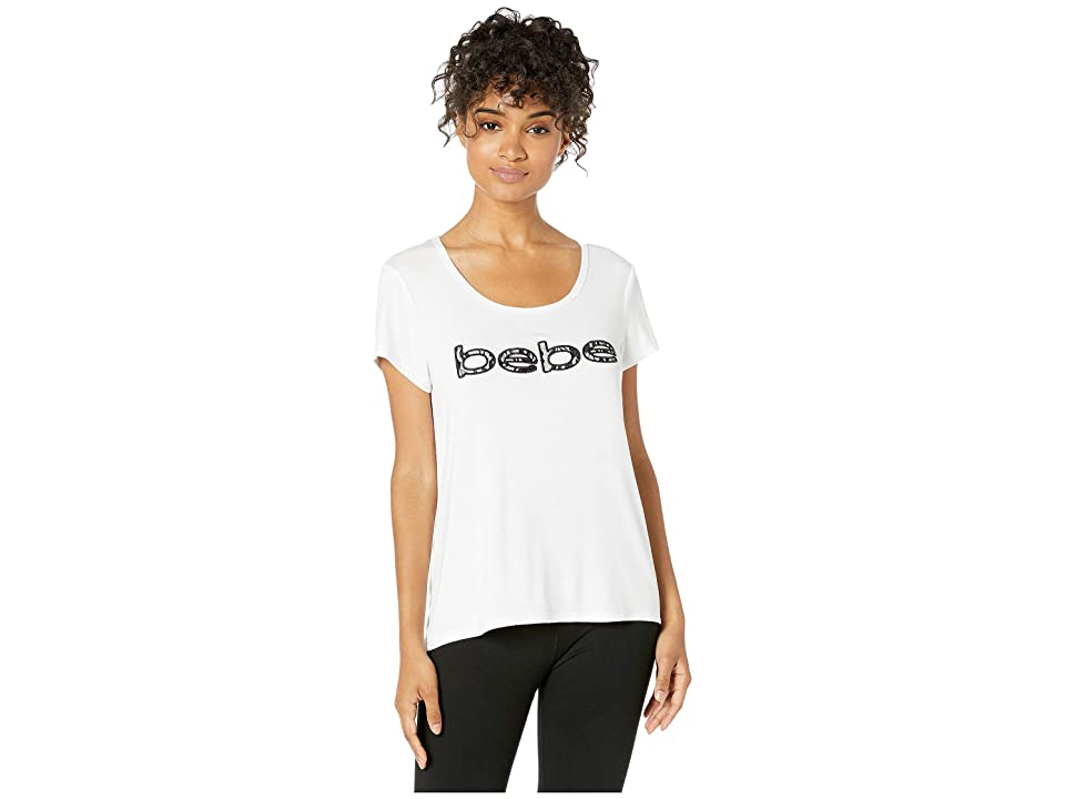 Bebe Sport Scoop Neck T-Shirt w/ Lace Applique (White) Women