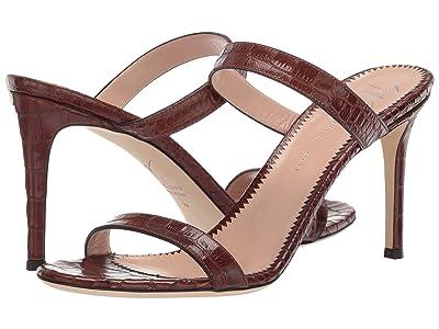 Giuseppe Zanotti Calista Croc Embossed Slide Heel Sandal (Zanzaroun Cuoio) Women