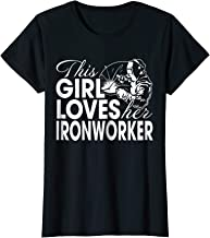 Womens Funny This Girl Loves Her Ironworker T-shirt Wife Gift