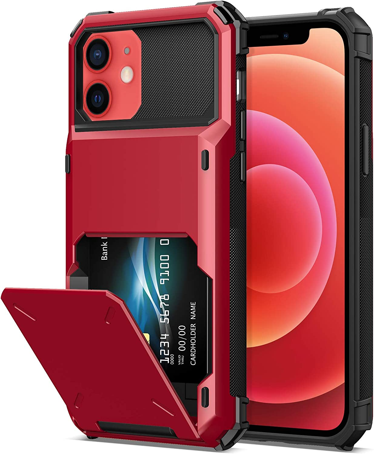 TITACUTE Compatible with iPhone 12 Pro Case with Card Holder Wallet Case Cover Dual Layer Slim Case Hybrid Shockproof Armor Case Back Flip Case Replacement for iPhone 12/12 Pro 5G 6.1 inch Red